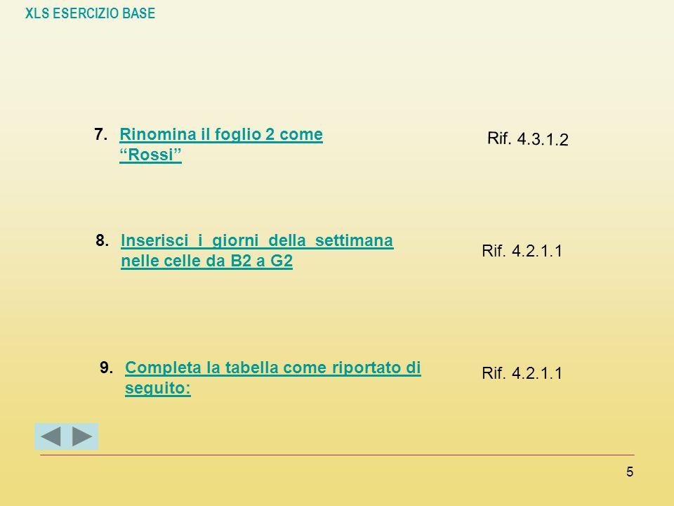 """XLS ESERCIZIO BASE 5 7.Rinomina il foglio 2 come """"Rossi""""Rinomina il foglio 2 come """"Rossi"""" Rif. 4.3.1.2 8.Inserisci i giorni della settimana nelle cell"""