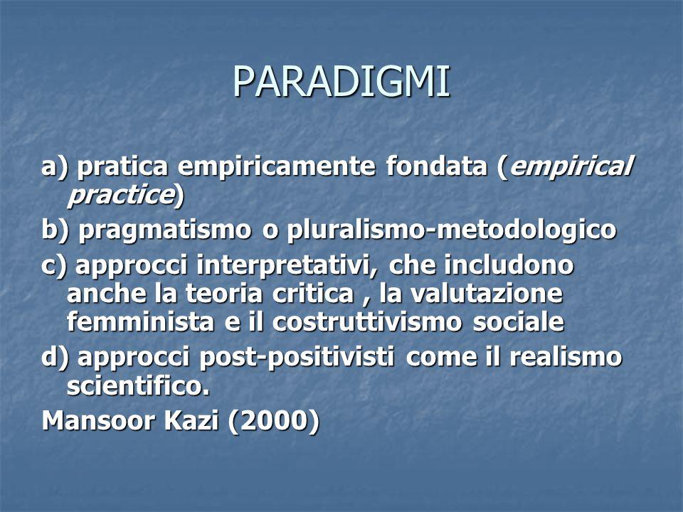 PARADIGMI a) pratica empiricamente fondata (empirical practice) b) pragmatismo o pluralismo-metodologico c) approcci interpretativi, che includono anche la teoria critica, la valutazione femminista e il costruttivismo sociale d) approcci post-positivisti come il realismo scientifico.