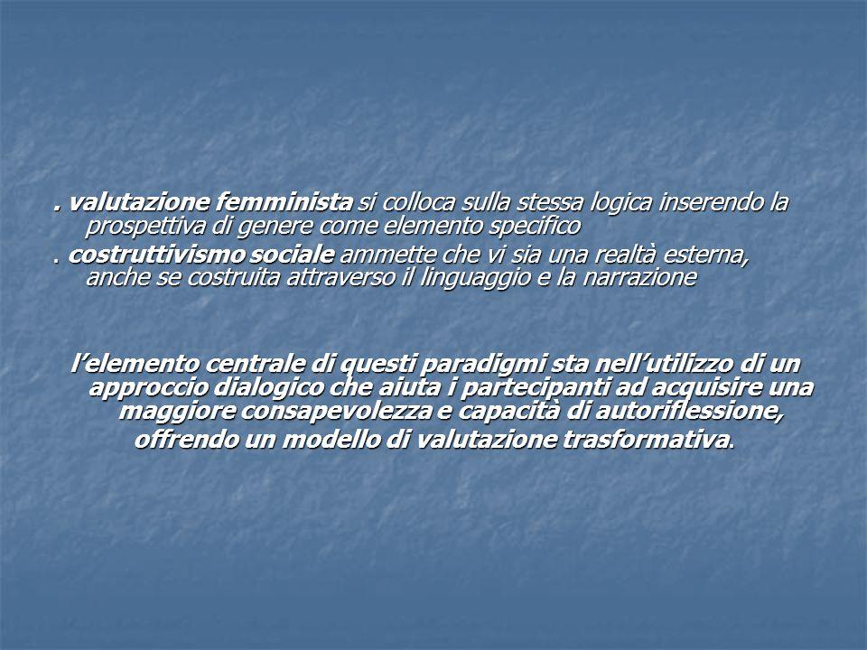 valutazione femminista si colloca sulla stessa logica inserendo la prospettiva di genere come elemento specifico.