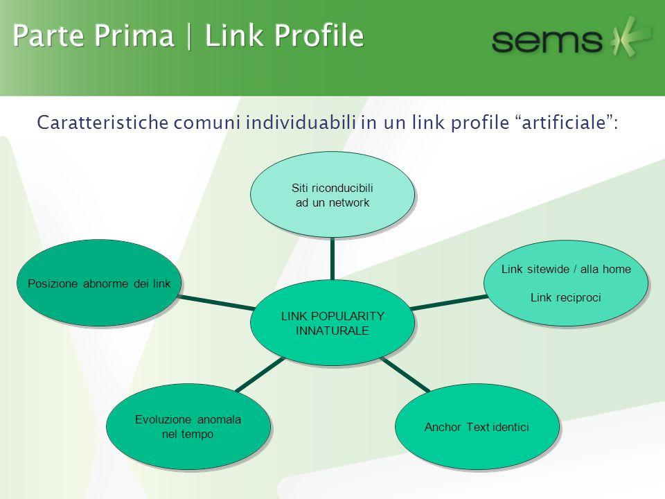 Caratteristiche comuni individuabili in un link profile artificiale : LINK POPULARITY INNATURALE Siti riconducibili ad un network Link sitewide / alla home Link reciproci Anchor Text identici Evoluzione anomala nel tempo Posizione abnorme dei link