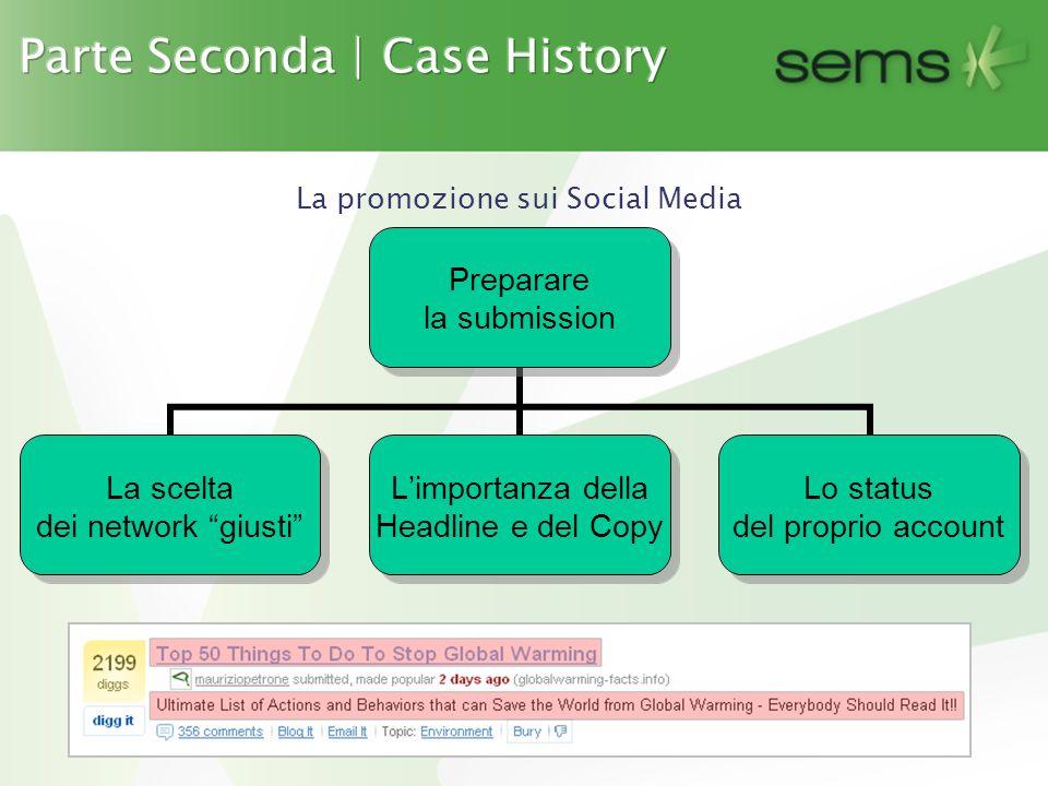 La promozione sui Social Media Preparare la submission La scelta dei network giusti L'importanza della Headline e del Copy Lo status del proprio account