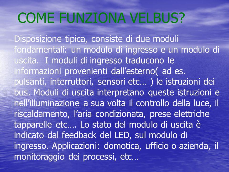 CHE COSA E' VELBUS? Velbus® è molto affidabile, è un sistema modulare di automazione domotica. L'interconnessione avviene tramite un cavo di bus compo
