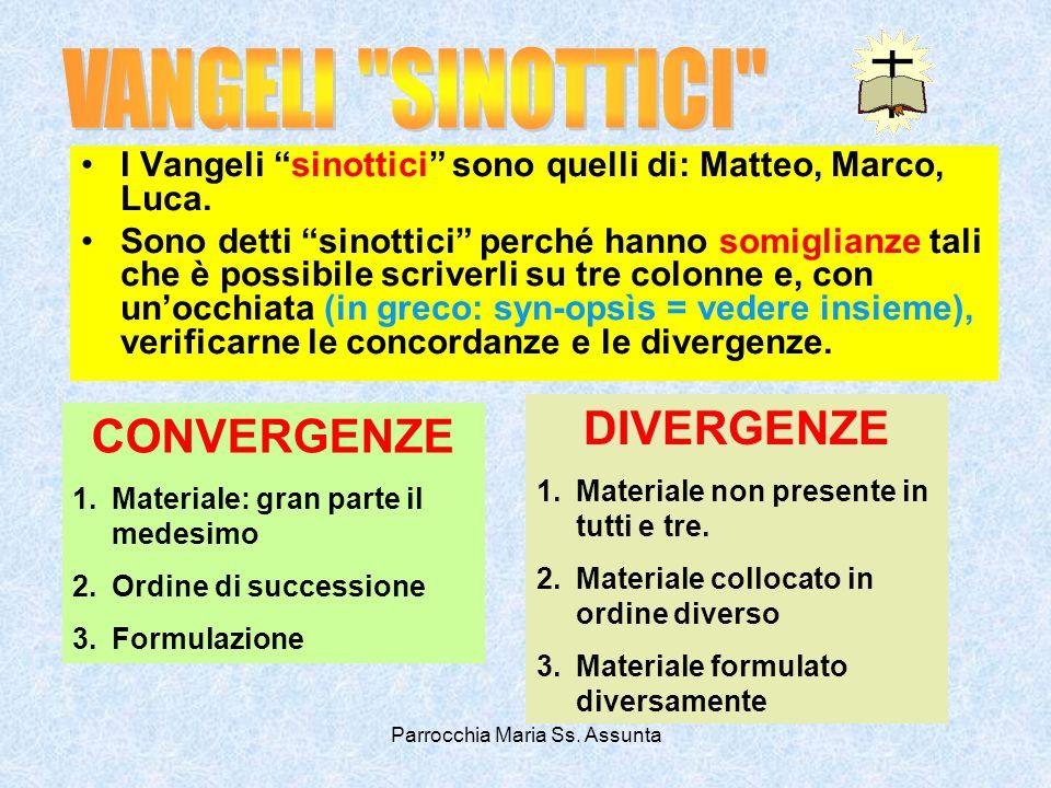 Parrocchia Maria Ss.Assunta •I Vangeli sinottici sono quelli di: Matteo, Marco, Luca.