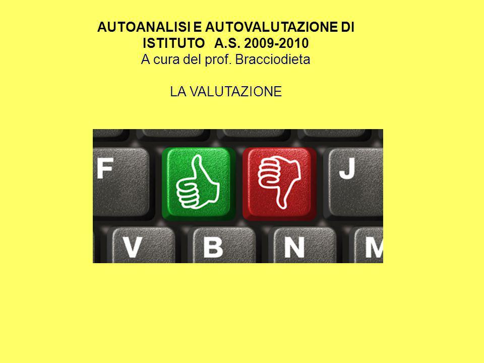 AUTOANALISI E AUTOVALUTAZIONE DI ISTITUTO A.S. 2009-2010 A cura del prof. Bracciodieta LA VALUTAZIONE