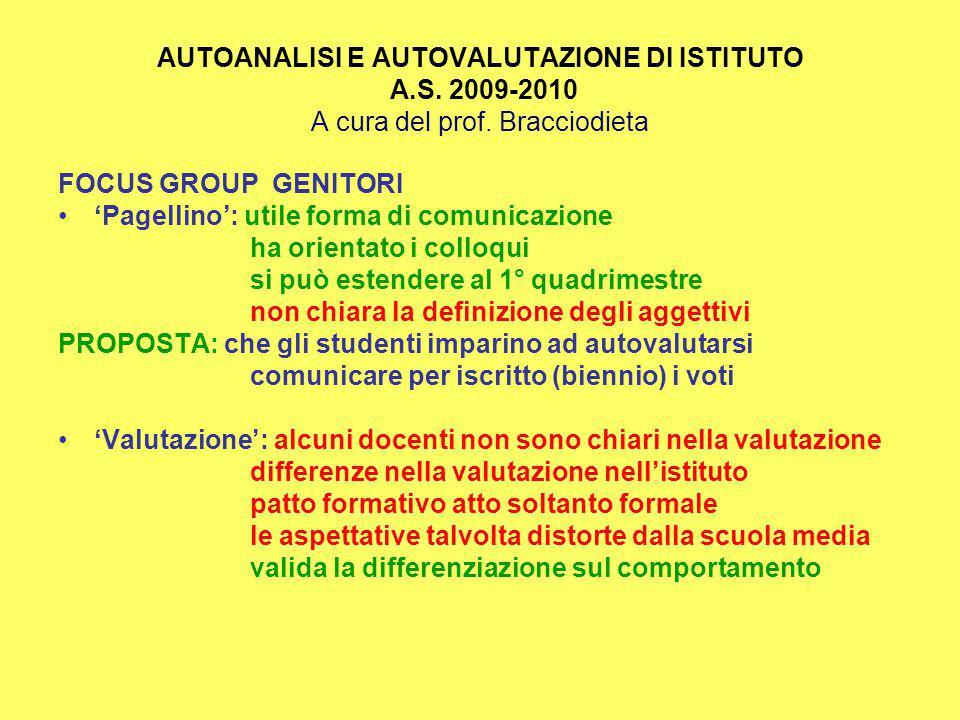 AUTOANALISI E AUTOVALUTAZIONE DI ISTITUTO A.S. 2009-2010 A cura del prof.