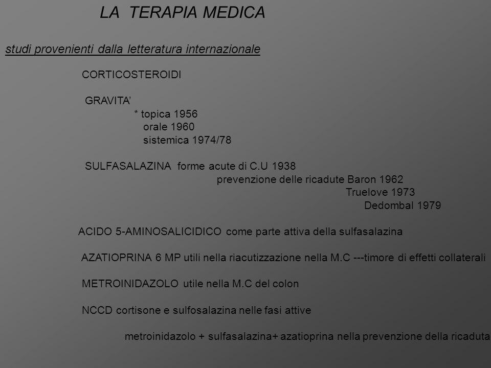 1)1974-1986 nella malattia di Crohn alimentazione parenterale totale mesalazina nuovi corticosteroidi nella colite ulcerosa INTENSIVE INTRAVENOUS TREATMENT (5days) better: worse: corticosteroids surgery prima del 1975 = 10% di mortalità all'anno dopo il 1975 = 0,1 % di mortalità all'anno PREVENTION OF RELAPSES long term sullphasalazine treatment 5-7 anni prima di un uso generalizzato ricadute dal 80% al 30% annuo