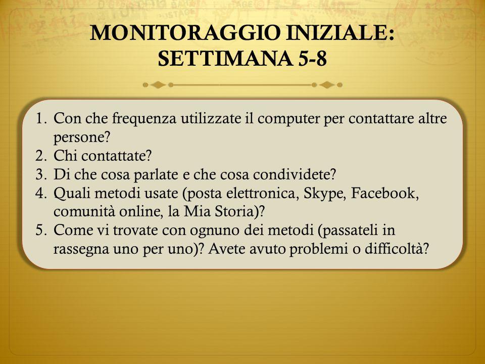 MONITORAGGIO INIZIALE: SETTIMANA 5-8 1.Con che frequenza utilizzate il computer per contattare altre persone.