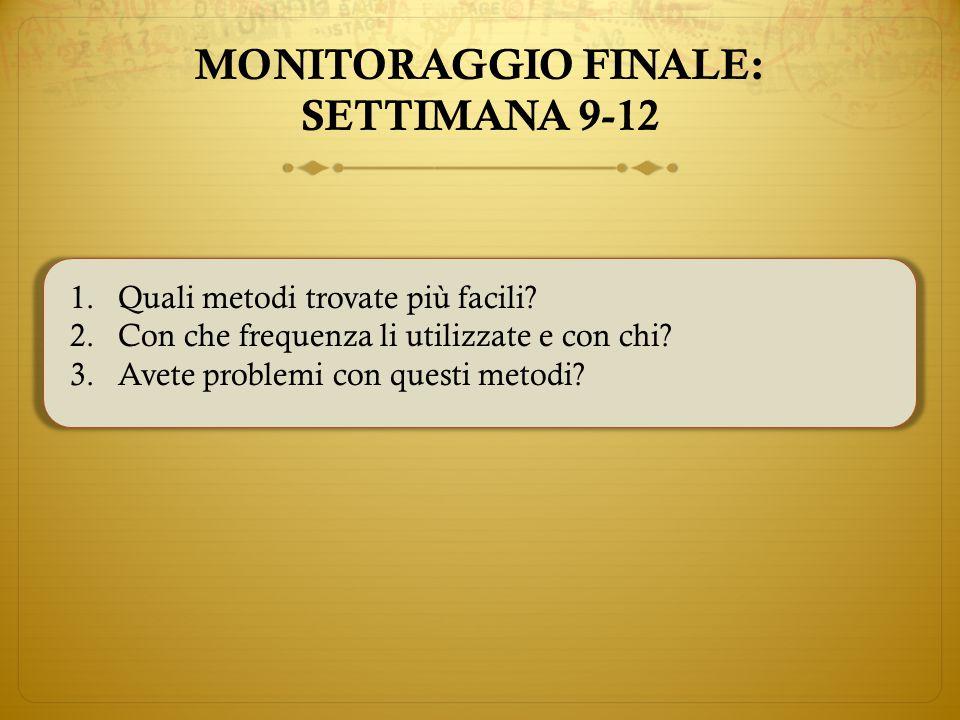 MONITORAGGIO FINALE: SETTIMANA 9-12 1.Quali metodi trovate più facili.