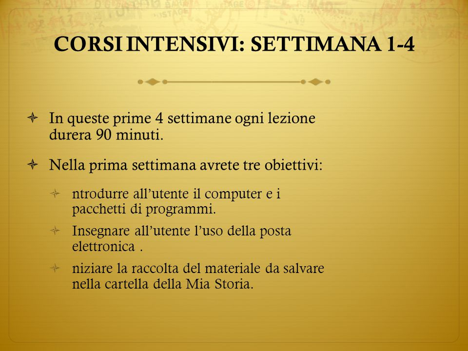  Settimana 1, Lezione 1 :  Iniziate con le presentazioni  Nozioni di informatica generale  La Mia Storia CORSI INTENSIVI: SETTIMANA 1-4
