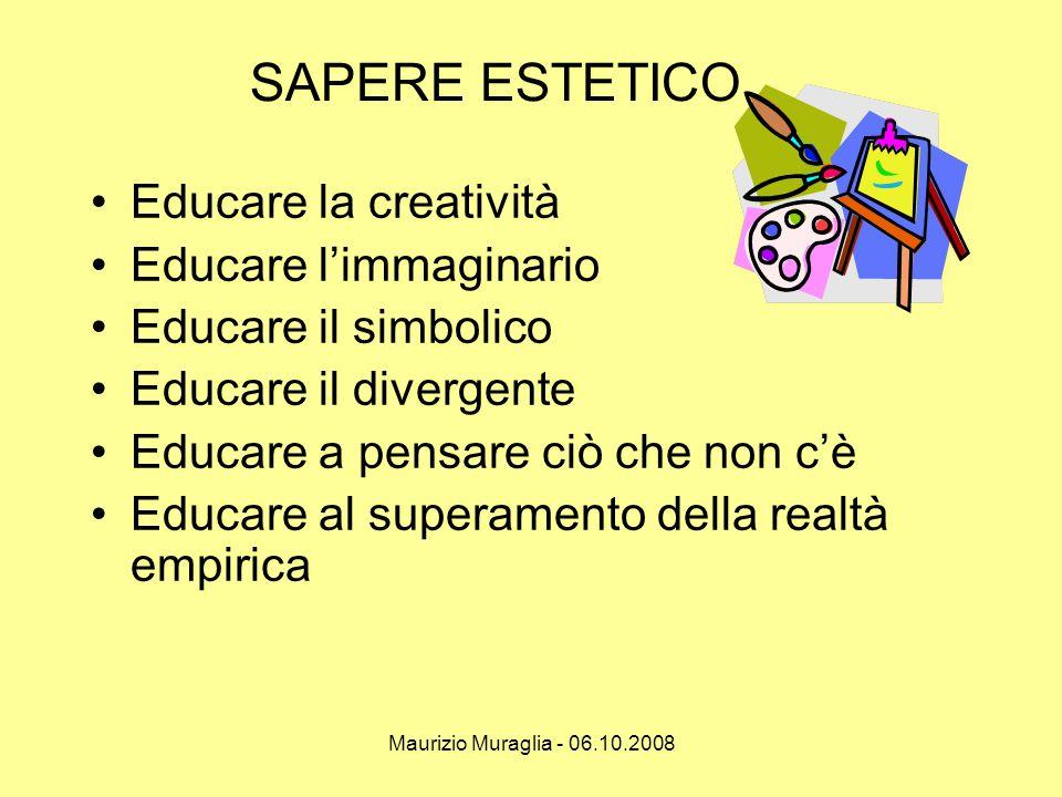 Maurizio Muraglia - 06.10.2008 SAPERE ESTETICO •Educare la creatività •Educare l'immaginario •Educare il simbolico •Educare il divergente •Educare a p