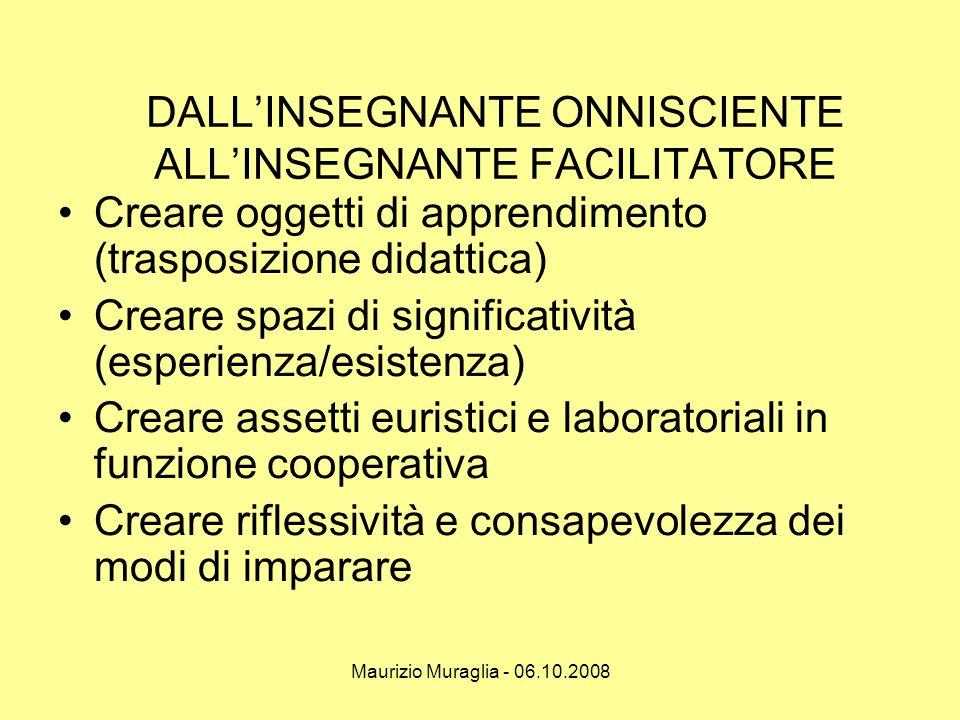 Maurizio Muraglia - 06.10.2008 DALL'INSEGNANTE ONNISCIENTE ALL'INSEGNANTE FACILITATORE •Creare oggetti di apprendimento (trasposizione didattica) •Cre