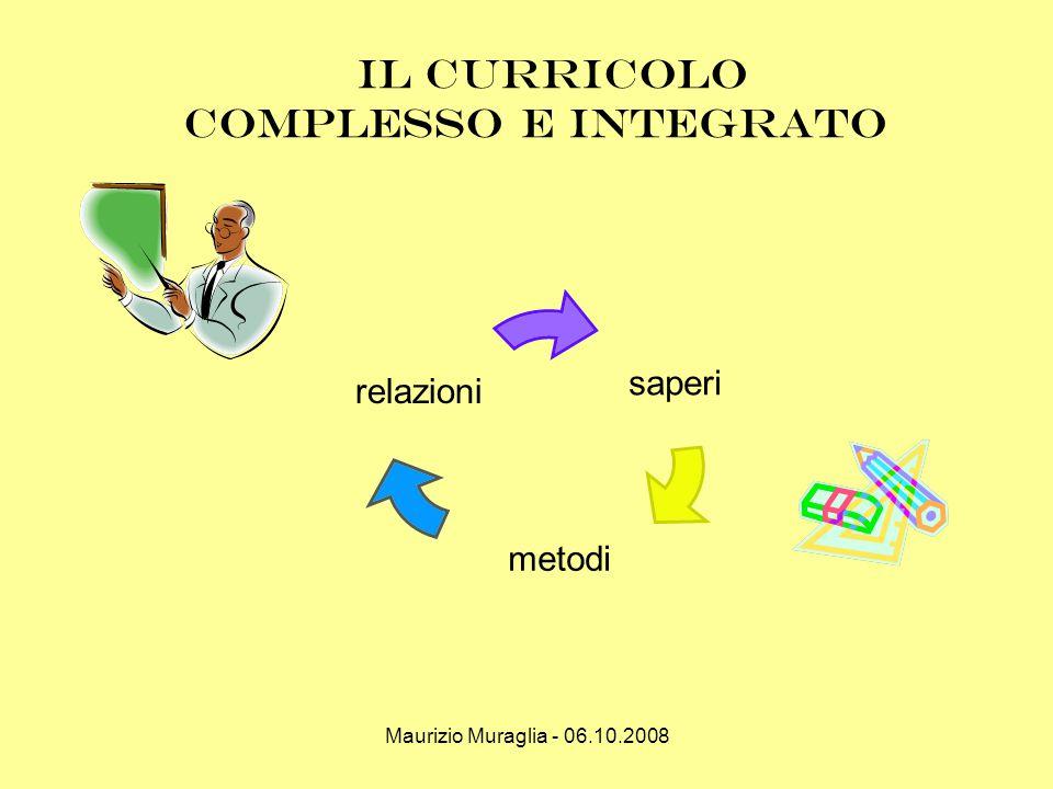 Maurizio Muraglia - 06.10.2008 il curricolo complesso e integrato saperi metodi relazioni