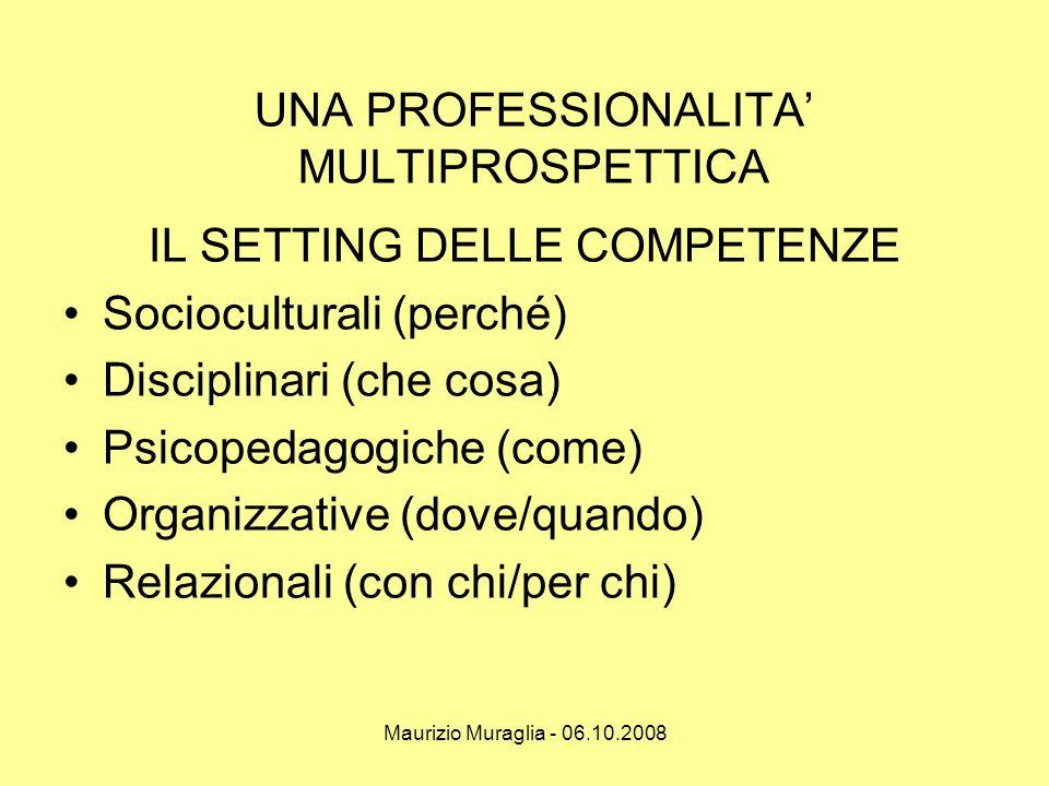 Maurizio Muraglia - 06.10.2008 UNA PROFESSIONALITA' MULTIPROSPETTICA IL SETTING DELLE COMPETENZE •Socioculturali (perché) •Disciplinari (che cosa) •Ps