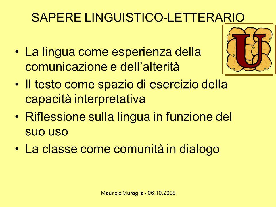 Maurizio Muraglia - 06.10.2008 SAPERE LINGUISTICO-LETTERARIO •La lingua come esperienza della comunicazione e dell'alterità •Il testo come spazio di e