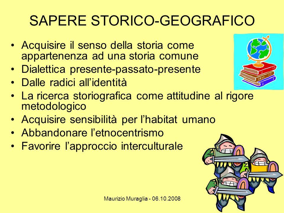 Maurizio Muraglia - 06.10.2008 SAPERE STORICO-GEOGRAFICO •Acquisire il senso della storia come appartenenza ad una storia comune •Dialettica presente-