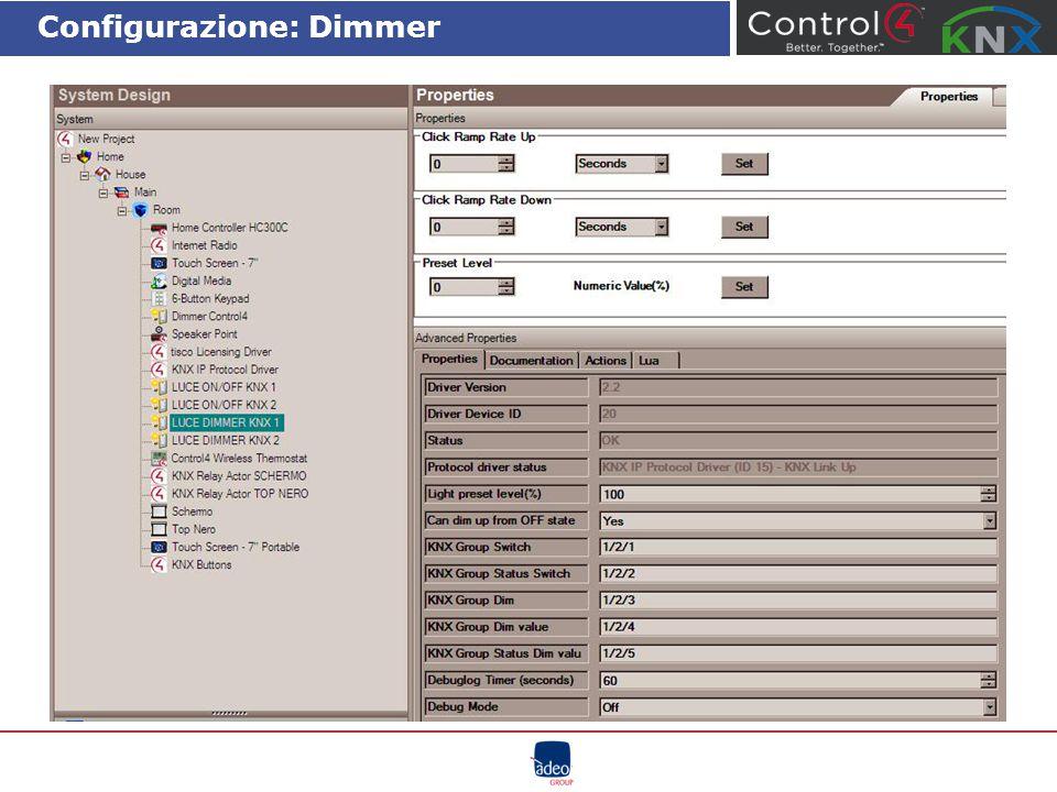 Configurazione: Dimmer