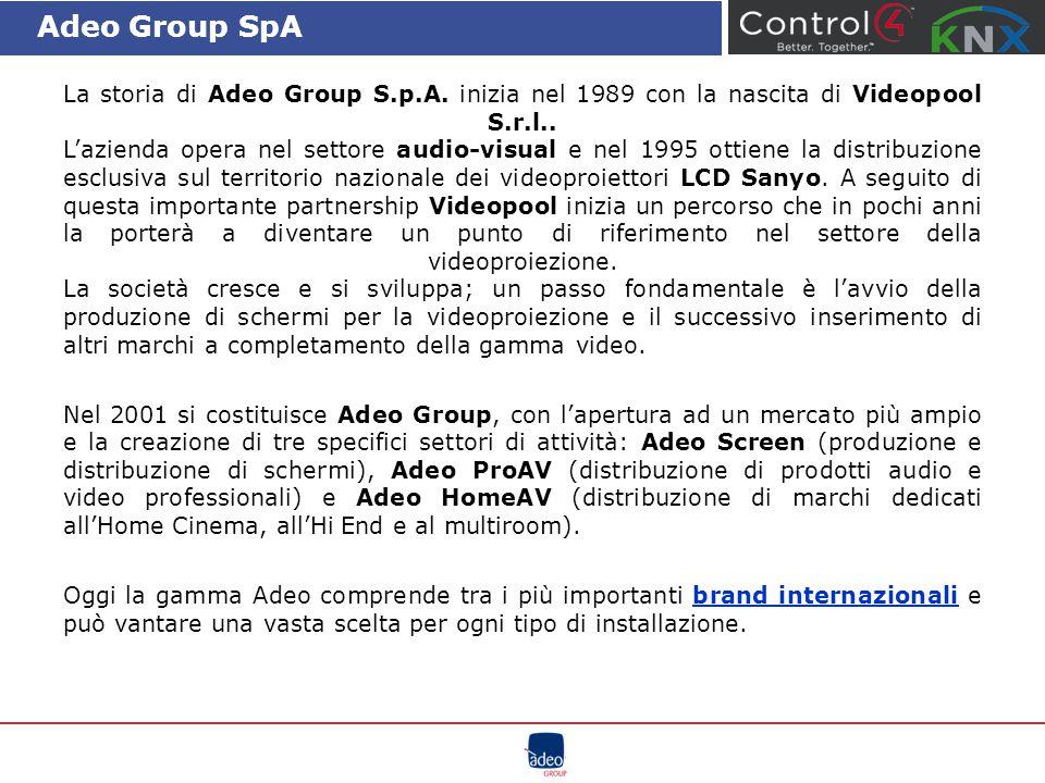 Adeo Group SpA La storia di Adeo Group S.p.A. inizia nel 1989 con la nascita di Videopool S.r.l.. L'azienda opera nel settore audio-visual e nel 1995