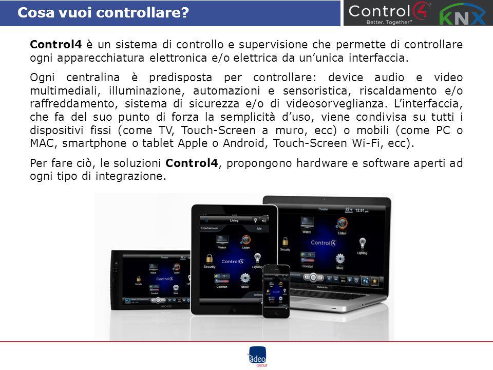 Cosa vuoi controllare? Control4 è un sistema di controllo e supervisione che permette di controllare ogni apparecchiatura elettronica e/o elettrica da