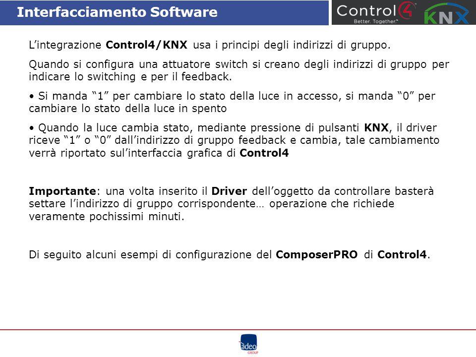 Interfacciamento Software L'integrazione Control4/KNX usa i principi degli indirizzi di gruppo. Quando si configura una attuatore switch si creano deg