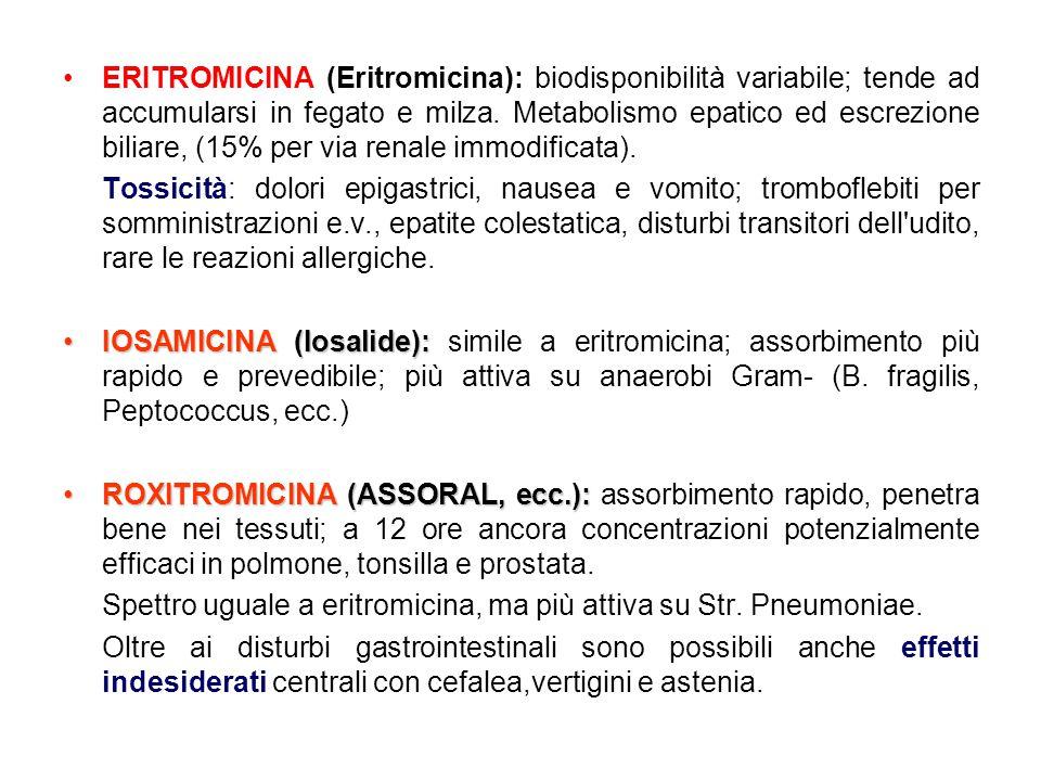 •ERITROMICINA (Eritromicina): biodisponibilità variabile; tende ad accumularsi in fegato e milza. Metabolismo epatico ed escrezione biliare, (15% per