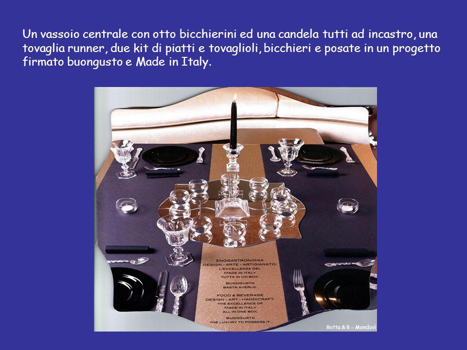 Un vassoio centrale con otto bicchierini ed una candela tutti ad incastro, una tovaglia runner, due kit di piatti e tovaglioli, bicchieri e posate in