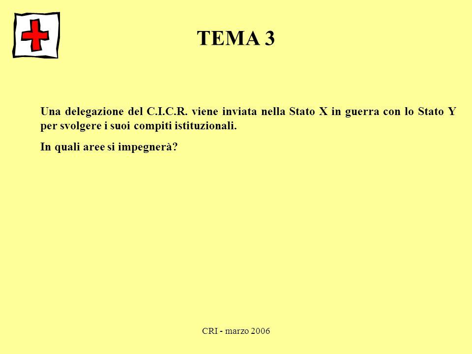 CRI - marzo 2006 TEMA 3 Una delegazione del C.I.C.R. viene inviata nella Stato X in guerra con lo Stato Y per svolgere i suoi compiti istituzionali. I