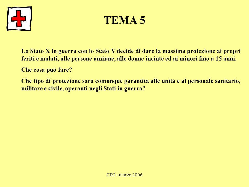 CRI - marzo 2006 TEMA 5 Lo Stato X in guerra con lo Stato Y decide di dare la massima protezione ai propri feriti e malati, alle persone anziane, alle donne incinte ed ai minori fino a 15 anni.