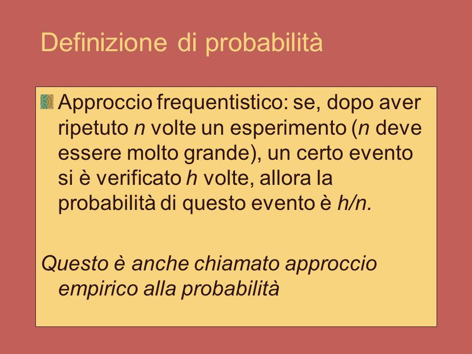 Definizione di probabilità Approccio classico: se ci sono h eventi favorevoli, dati n eventi tutti ugualmente possibili, la nostra probabilità di succ