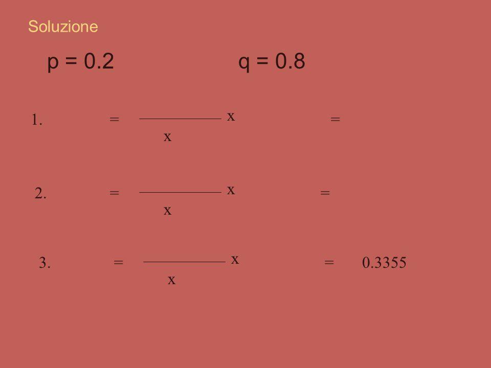 Esercizio Sapendo che la probabilità che ad uno studente di psicologia piaccia la statistica è 0.2, qual è la probabilità che estraendo a sorte 8 sogg