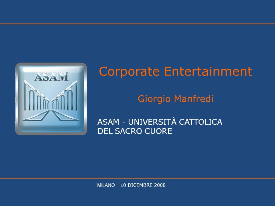 Corporate Entertainment Giorgio Manfredi ASAM - UNIVERSITÀ CATTOLICA DEL SACRO CUORE MILANO - 10 DICEMBRE 2008