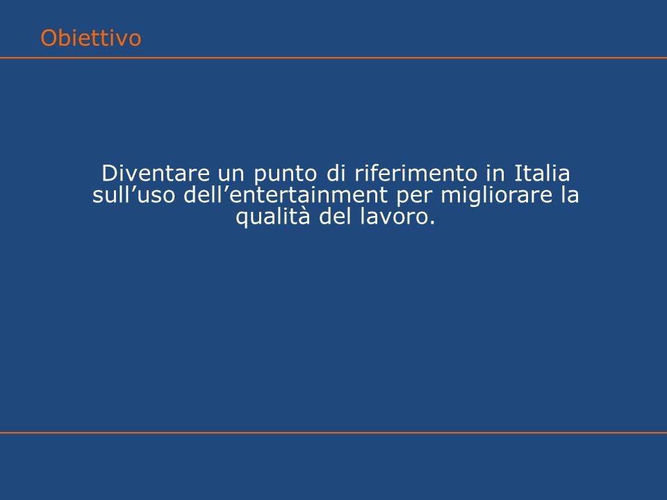 Diventare un punto di riferimento in Italia sull'uso dell'entertainment per migliorare la qualità del lavoro.