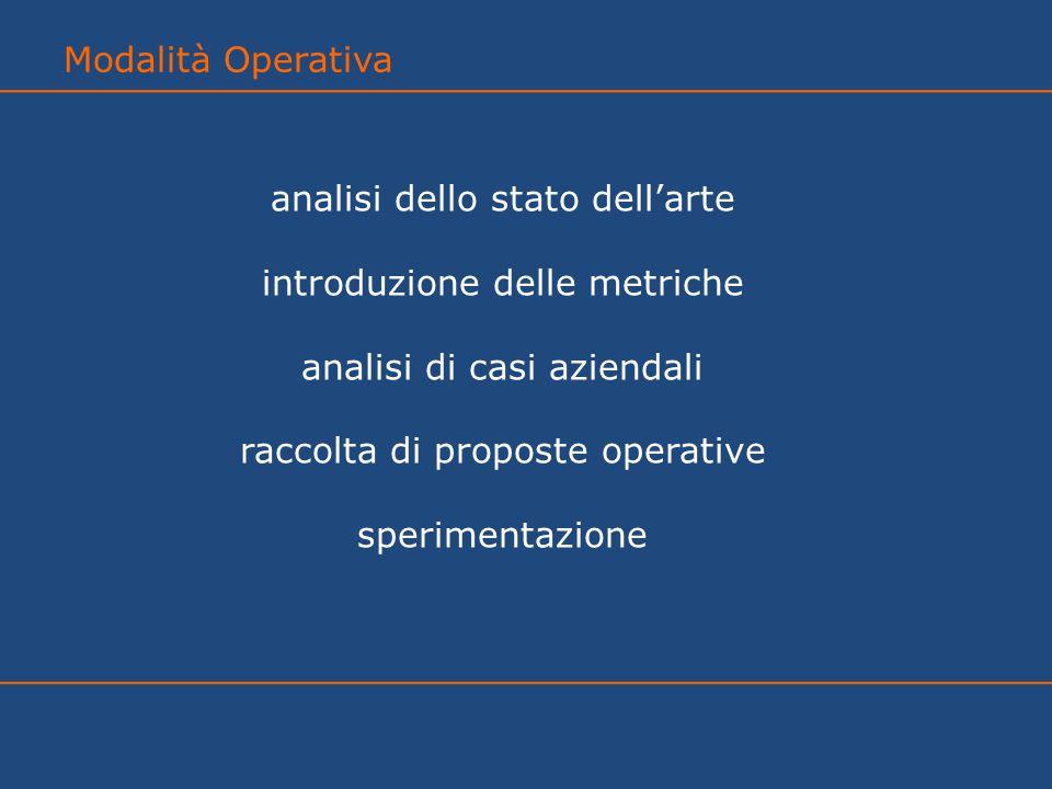 analisi dello stato dell'arte introduzione delle metriche analisi di casi aziendali raccolta di proposte operative sperimentazione Modalità Operativa