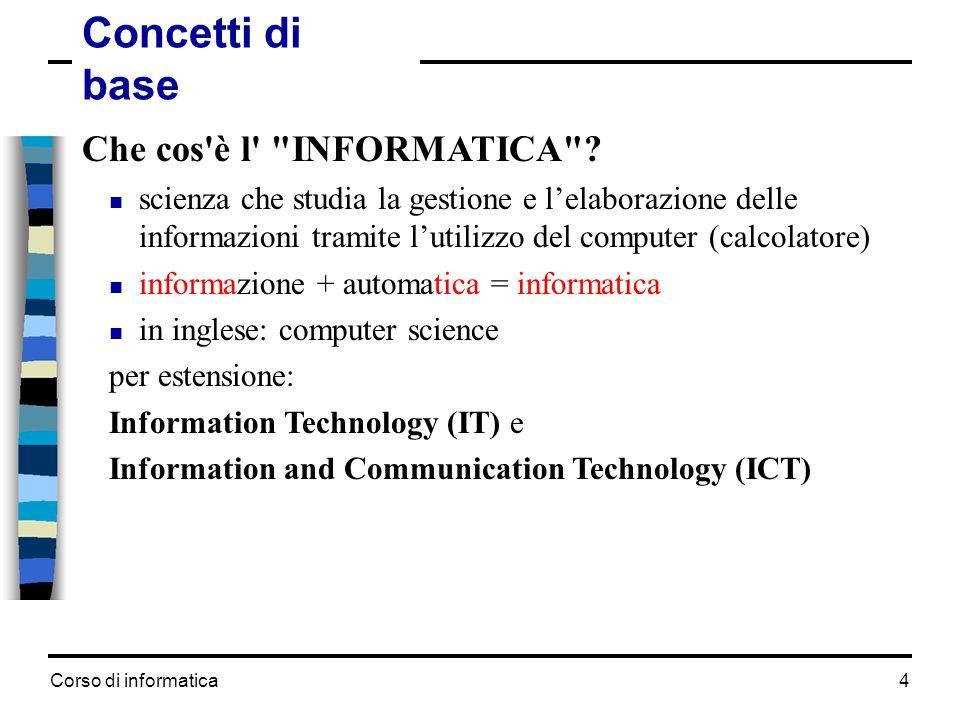 Corso di informatica5 Concetti di base Che cos è un computer (calcolatore).