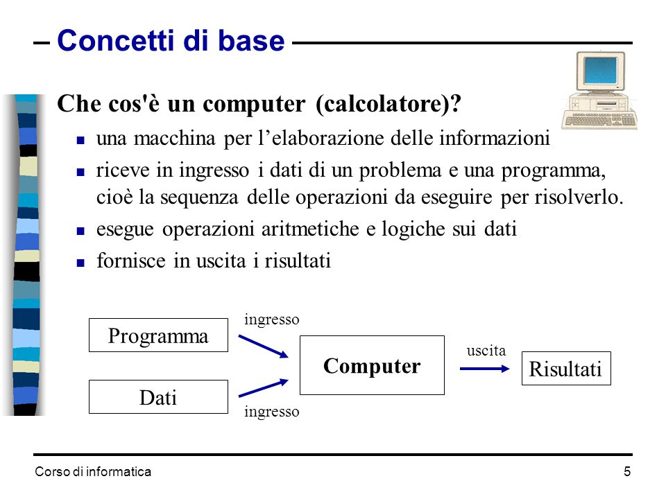 Corso di informatica5 Concetti di base Che cos'è un computer (calcolatore)?  una macchina per l'elaborazione delle informazioni  riceve in ingresso