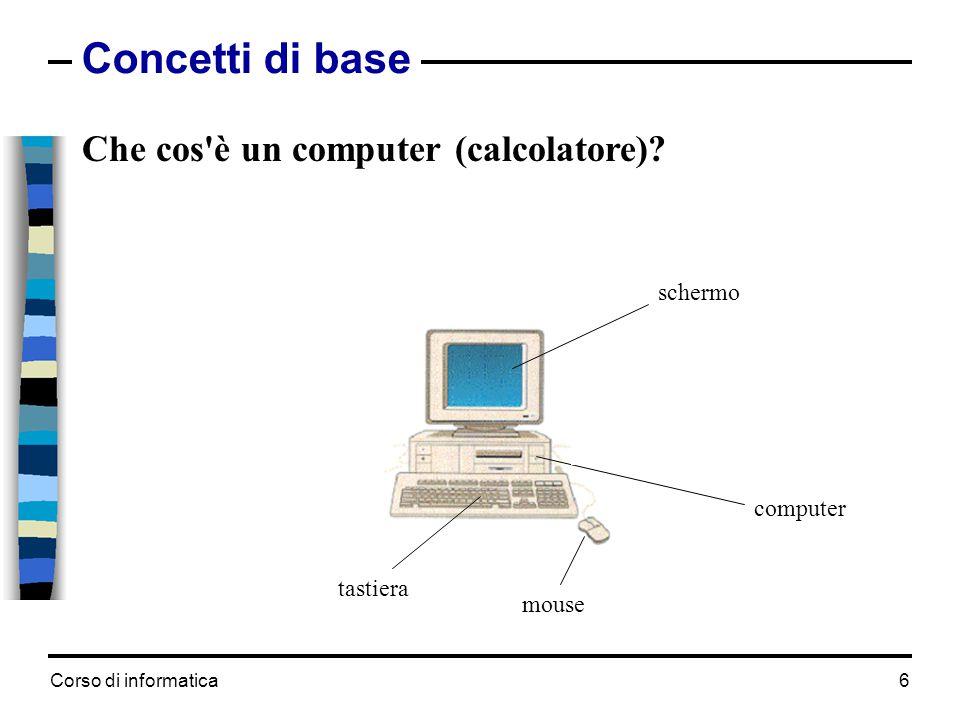 Corso di informatica17 Le importanti caratteristiche di un computer  Memorie di massa - tipo, capacità, velocità, - 160-1000 GB hard disk, - CD ROM 24x - CD-DVD R/W 8x -programmi e dati sono salvati nelle memorie di massa.