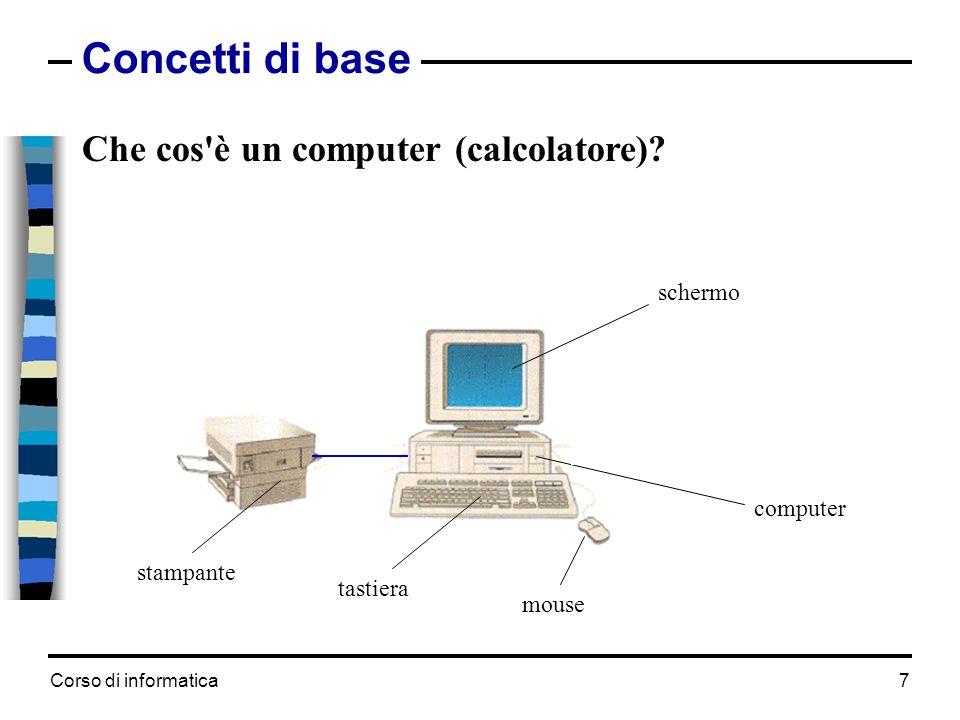 Corso di informatica7 Concetti di base Che cos'è un computer (calcolatore)? computer tastiera mouse schermo stampante