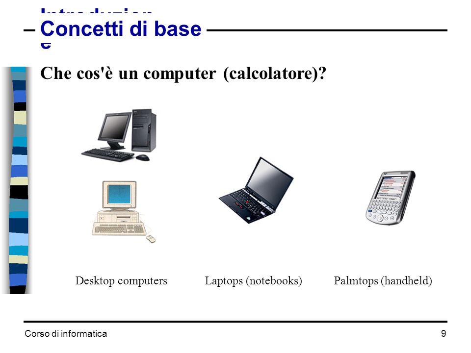 Corso di informatica10 Concetti di base Hardware  tutti i componenti elettronici (parti fisiche) Software (programmi)  sistema operativo (programmi di servizio) -per l'avviamento e il funzionamento del calcolatore  applicazioni -programmi per l elaborazione e la gestione dei dati Dati  files (documenti)  un file è un insieme di dati salvati nella memoria di massa