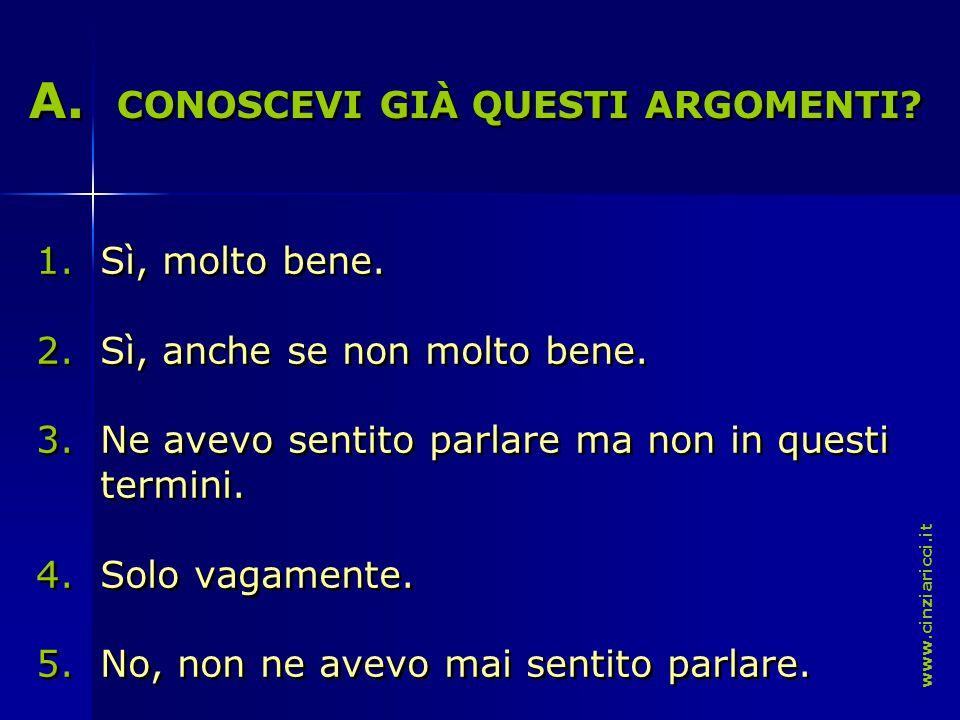 A. A. CONOSCEVI GIÀ QUESTI ARGOMENTI. A. A. CONOSCEVI GIÀ QUESTI ARGOMENTI.