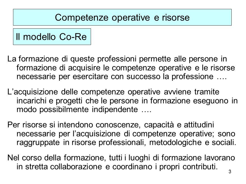 3 La formazione di queste professioni permette alle persone in formazione di acquisire le competenze operative e le risorse necessarie per esercitare