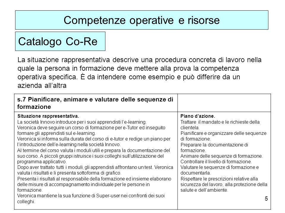 5 La situazione rappresentativa descrive una procedura concreta di lavoro nella quale la persona in formazione deve mettere alla prova la competenza operativa specifica.