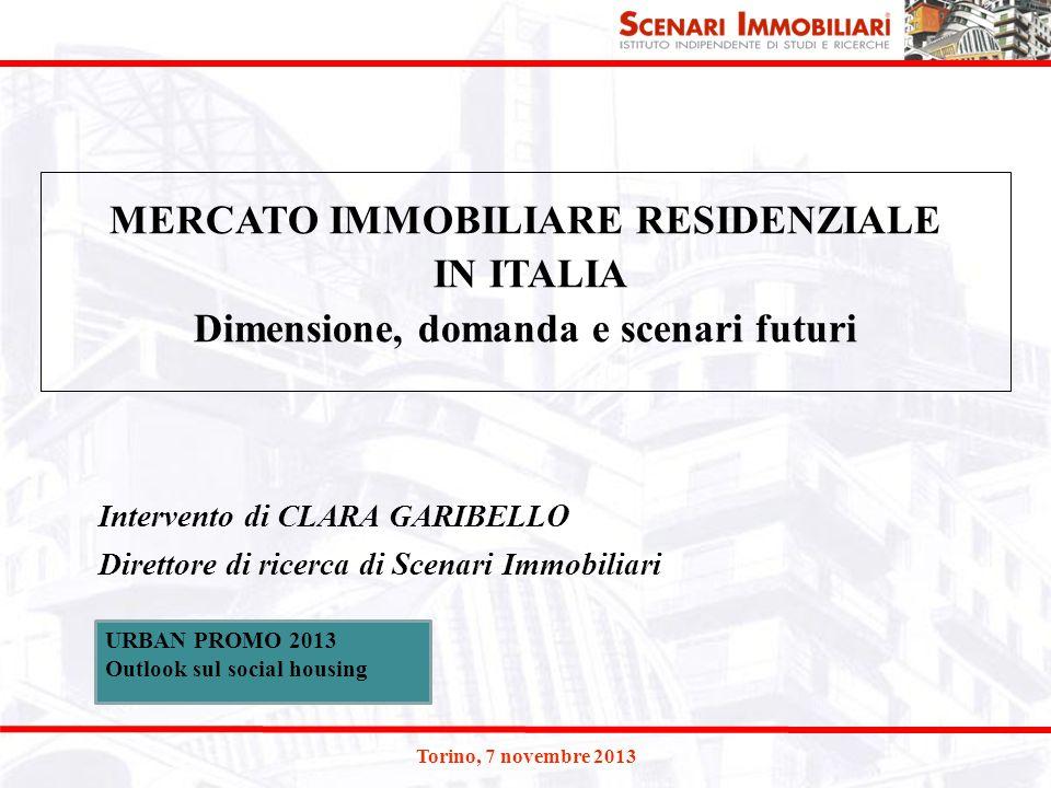 Torino, 7 novembre 2013 Intervento di CLARA GARIBELLO Direttore di ricerca di Scenari Immobiliari MERCATO IMMOBILIARE RESIDENZIALE IN ITALIA Dimension