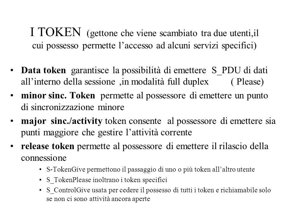 I TOKEN (gettone che viene scambiato tra due utenti,il cui possesso permette l'accesso ad alcuni servizi specifici) •Data token garantisce la possibilità di emettere S_PDU di dati all'interno della sessione,in modalità full duplex ( Please) •minor sinc.