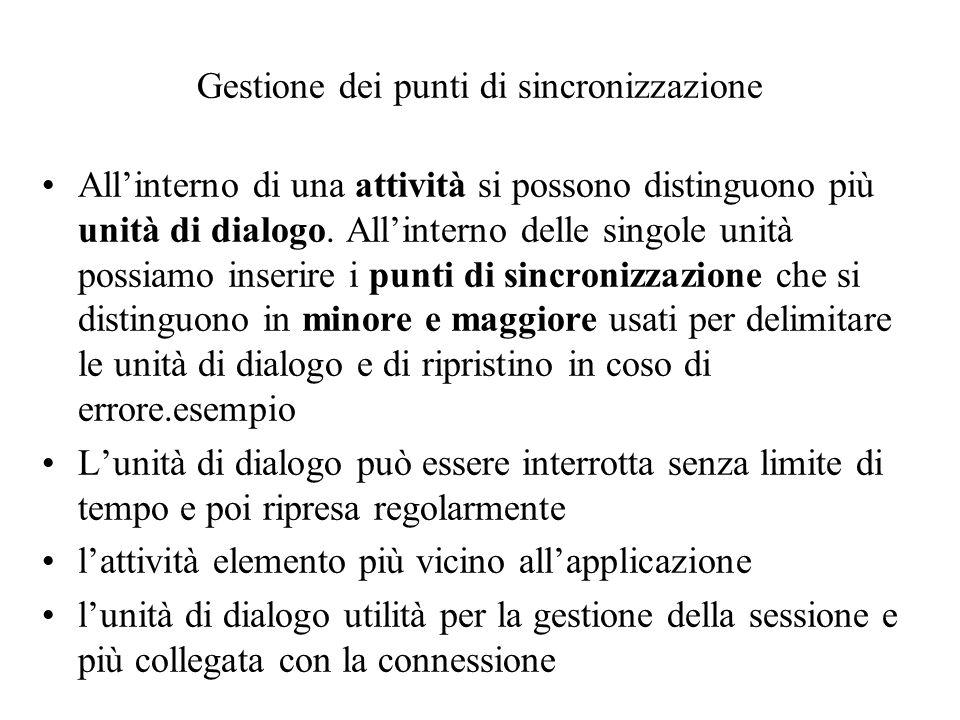 Gestione dei punti di sincronizzazione •All'interno di una attività si possono distinguono più unità di dialogo.