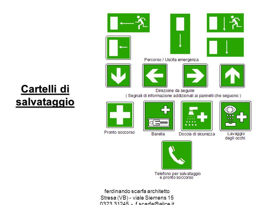 ferdinando scarfa architetto Stresa (VB) - viale Siemens 15 0323.31245 - f.scarfa@alice.it Cartelli di salvataggio
