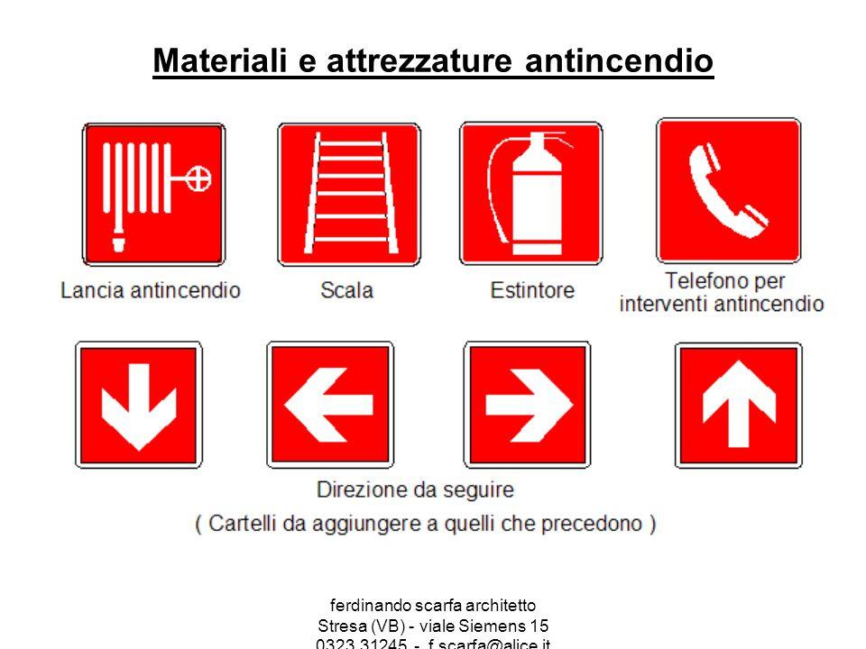 ferdinando scarfa architetto Stresa (VB) - viale Siemens 15 0323.31245 - f.scarfa@alice.it Materiali e attrezzature antincendio