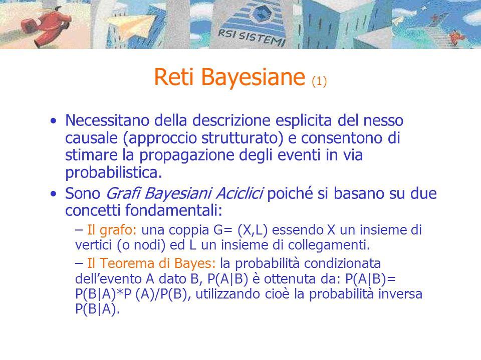 Reti Bayesiane (1) •Necessitano della descrizione esplicita del nesso causale (approccio strutturato) e consentono di stimare la propagazione degli eventi in via probabilistica.
