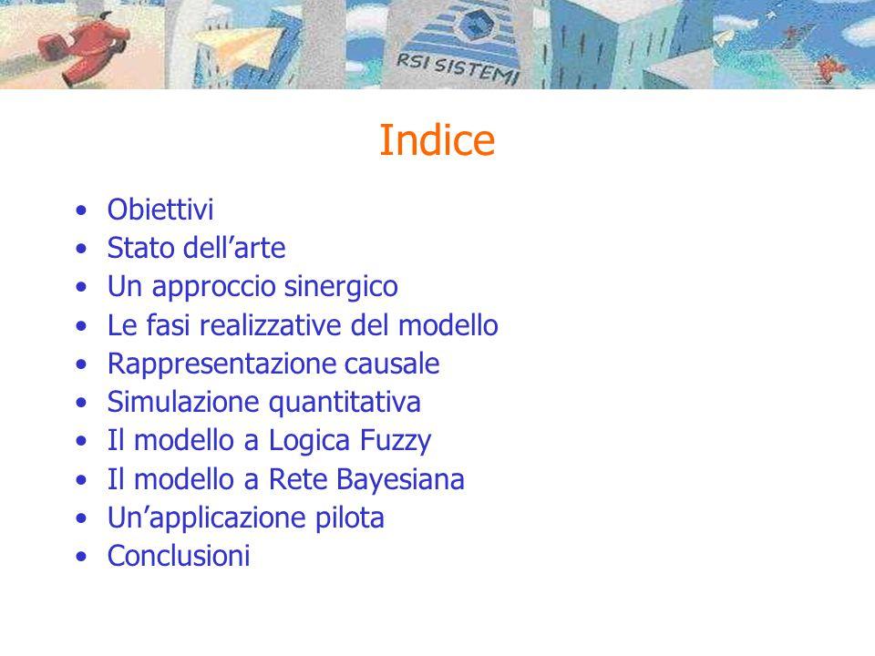 Indice •Obiettivi •Stato dell'arte •Un approccio sinergico •Le fasi realizzative del modello •Rappresentazione causale •Simulazione quantitativa •Il modello a Logica Fuzzy •Il modello a Rete Bayesiana •Un'applicazione pilota •Conclusioni