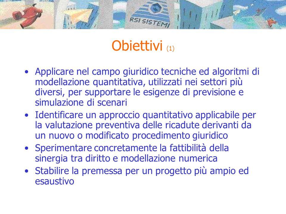 Obiettivi (1) •Applicare nel campo giuridico tecniche ed algoritmi di modellazione quantitativa, utilizzati nei settori più diversi, per supportare le