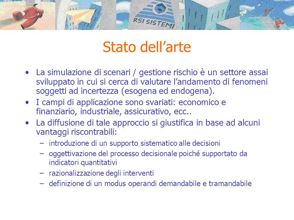 Stato dell'arte •La simulazione di scenari / gestione rischio è un settore assai sviluppato in cui si cerca di valutare l'andamento di fenomeni sogget