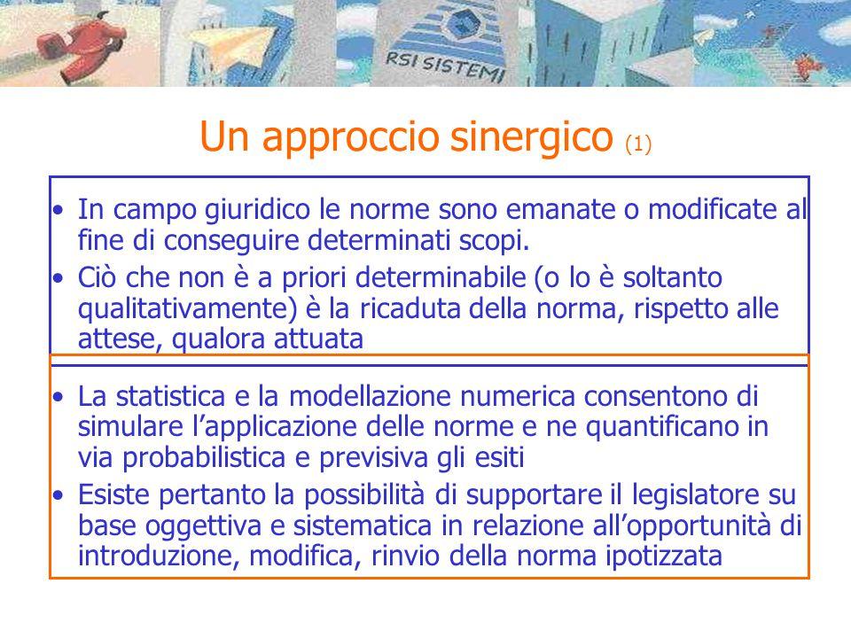 Un approccio sinergico (2) Ambito giuridico Ambito numerico Flusso procedurale / decisionale Obiettivi attesi Metriche di misura Albero causale / motore di inferenza Quantificazione metriche Scenari di valutazione Supporto alle decisioni attuative